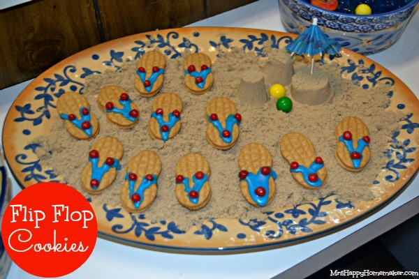 Flip Flop Cookies on a bed of 'sand'