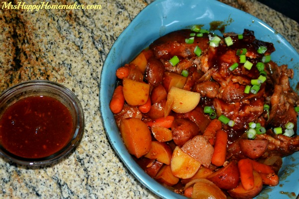 Slow Cooker Barbecue Pork Chops with Potatoes, Carrots, & Onions