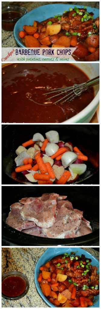 Easy Crockpot BBQ Pork Chops with Veggies
