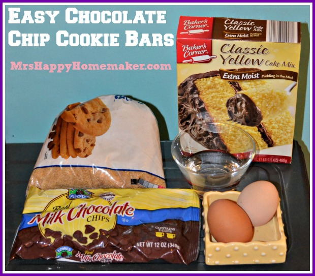 Easy Chocolate Chip Cookie Bars with cake mix for a simple shortcut dessert