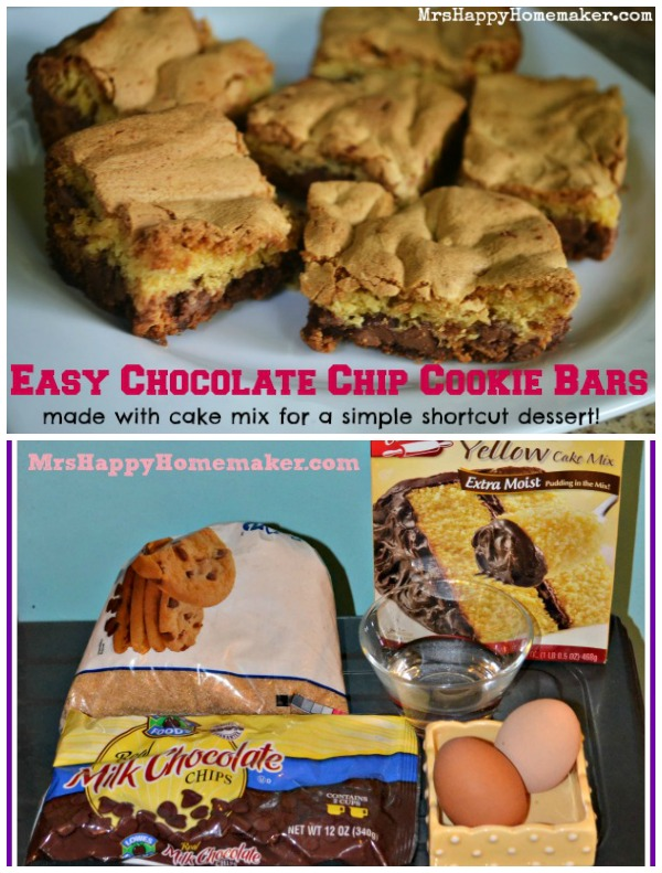 Easy Chocolate Chip Cookie Bars made with a cake mix for a delicious shortcut dessert!