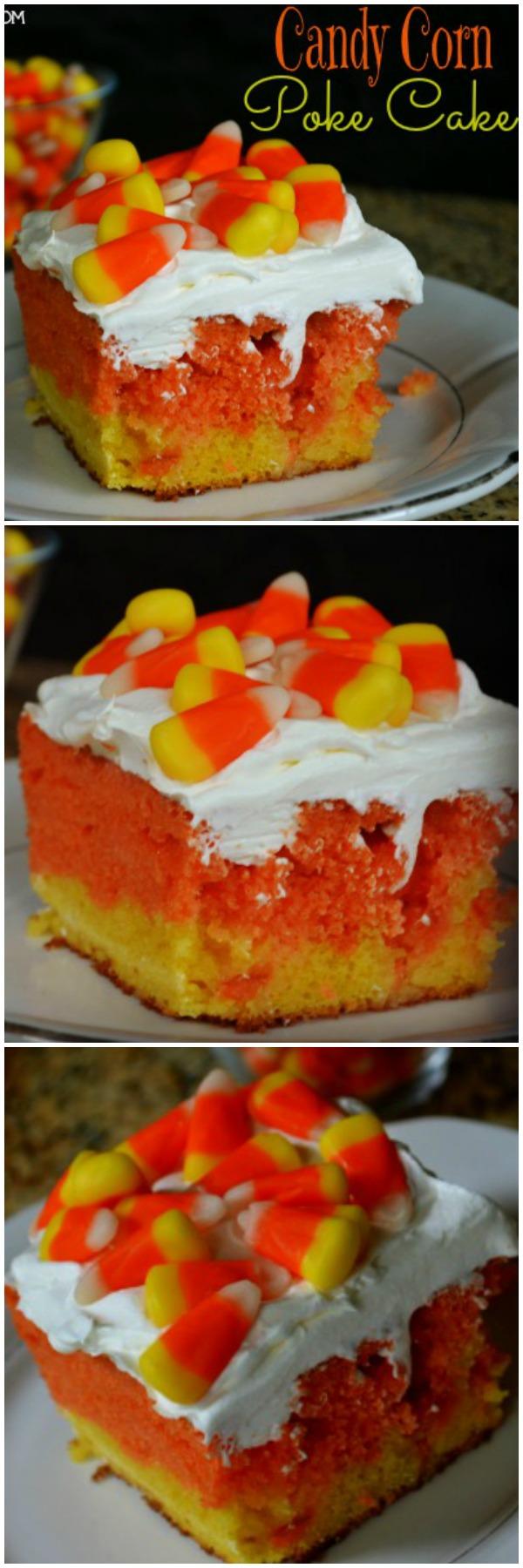 Easy Candy Corn Poke Cake | MrsHappyHomemaker.com @MrsHappyHomemaker #candycornpokecake #candycorn #pokecake #falldessert #fall