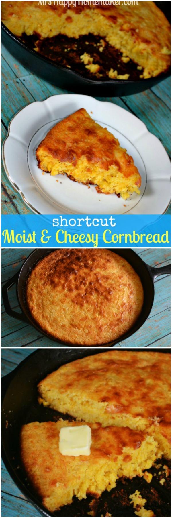 Shortcut Moist and Cheesy Cornbread | MrsHappyHomemaker.com