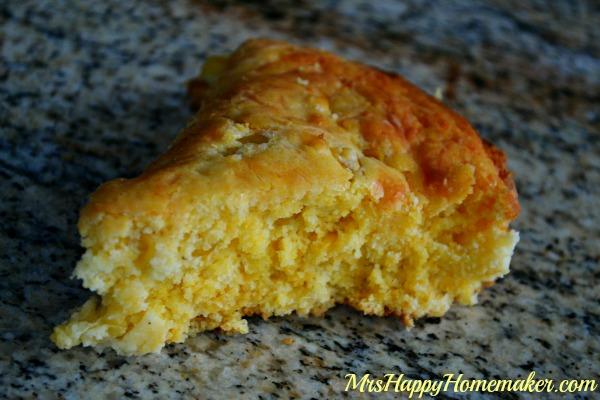 slice of Shortcut Moist & Cheesy Cornbread