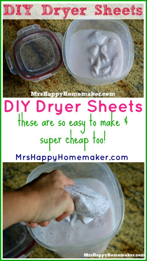 These DIY Homemade Dryer Sheets are the frugal way to go, & they work wonderfully! You will never go back to store-bought after you try them out. | MrsHappyHomemaker.com @thathousewife