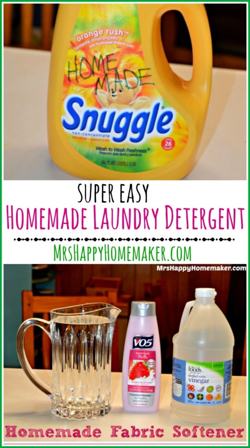 Homemade Fabric Softener - just 3 ingredients & one of them is water! You probably already have everything you need to make this on hand too. Great to use daily or in a pinch too! | MrsHappyHomemaker.com