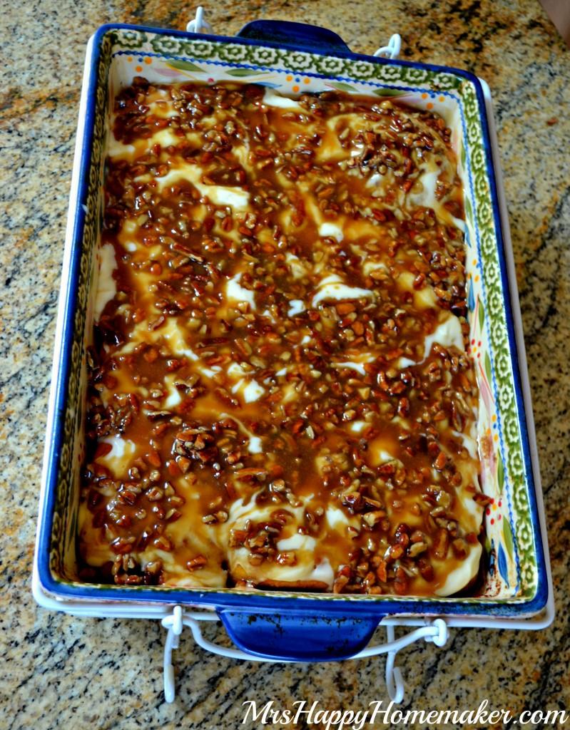 Pumpkin Cinnamon Rolls with Cream Cheese Frosting & Caramel Pecan Glaze