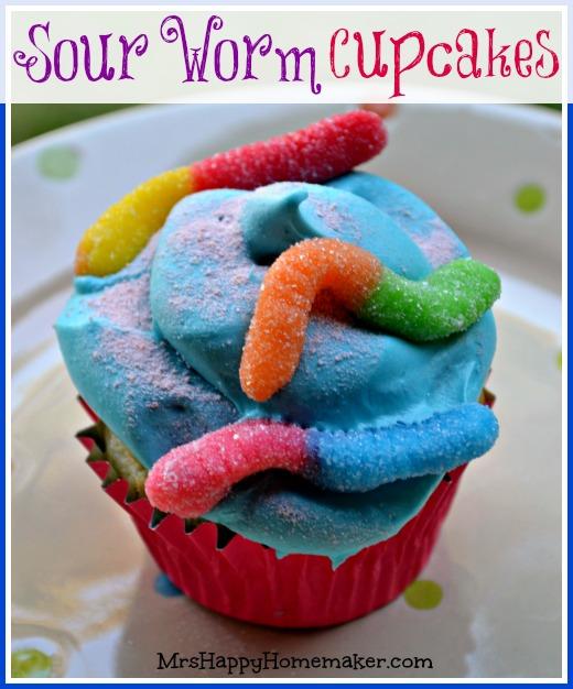 sour gummy worm cupcakes mrs happy homemaker