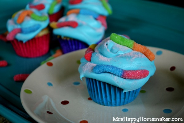 Sour Worm Cupcakes