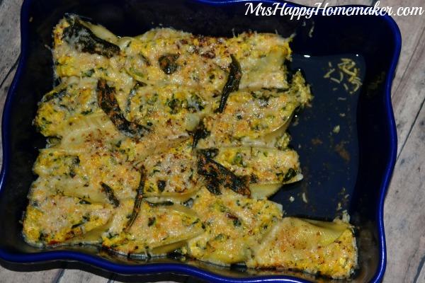 Butternut Squash & Spinach Stuffed Shells with Lemon Sage Butter Sauce