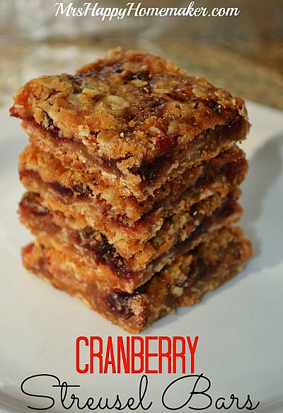 Got leftover cranberry sauce? You'll want to make cranberry sauce just so you can make these delicious & easy cranberry struesel bars!! Even my friends & family who despise cranberry sauce can't stop eating these. If you don't have enough cranberry sauce, you can add in a little jam or fruit preserves too.