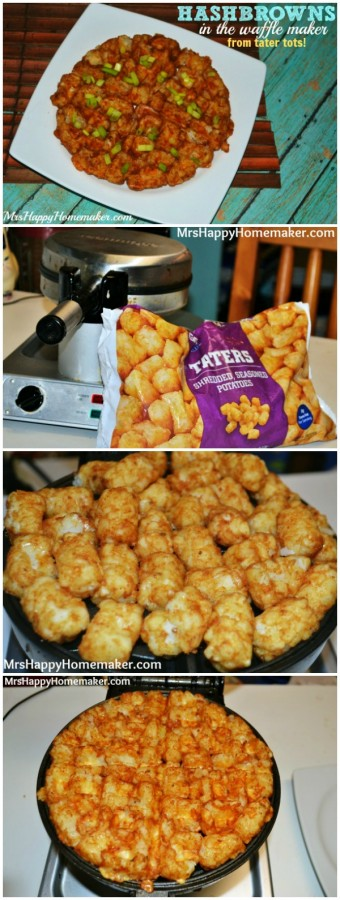 Make hash browns in the waffle cooker with tater tots