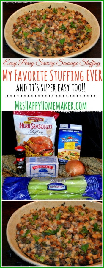 This is my FAVORITE STUFFING EVER!! It's seriously one of the easiest recipes you'll come across too & the flavors just can't be beat. I've tried many a' stuffing recipe & this simple one outshines them all in my book. | MrsHappyHomemaker.com @thathousewife
