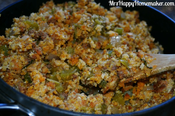 Cornbread Stuffing with Chorizo, Chiles, & Cilantro