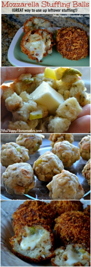 Got leftover stuffing? Then you need to stuff it with cheese & make these AMAZING Mozzarella Stuffing Balls!! | MrsHappyHomemaker.com @thathousewife