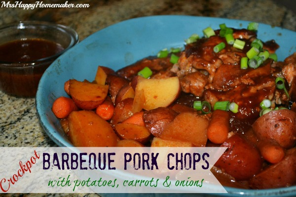 Crockpot Barbeque Pork Chops With Potatoes Carrots Onions Mrs