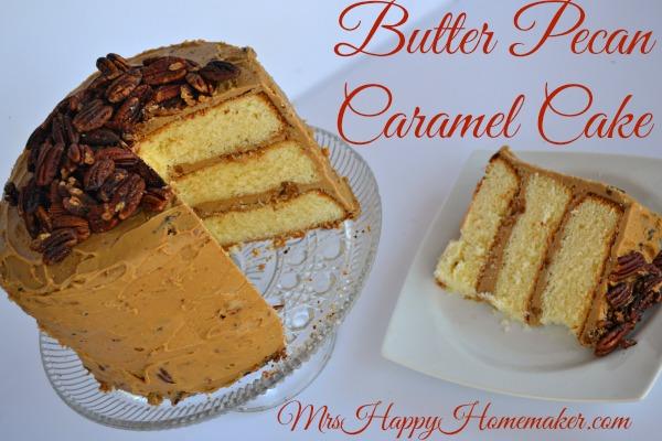 Butter Pecan Caramel Cake - Mrs Happy Homemaker