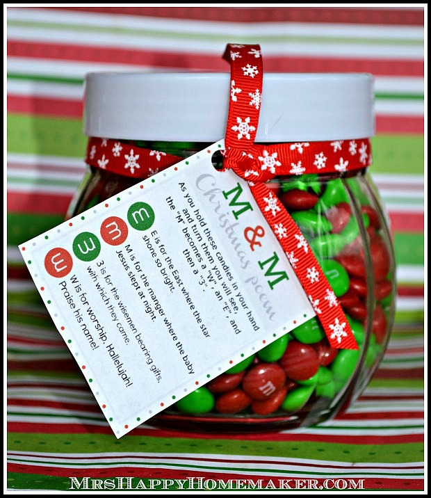 M & M Christmas Poem Candy Jars