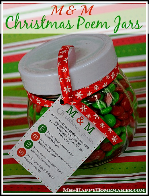 M & M Christmas Poem Candy Jar