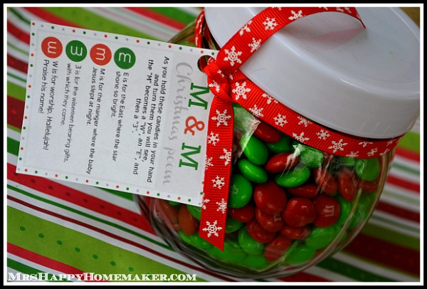 M M Christmas Poem Candy Jars 5 Minute Christmas Craft