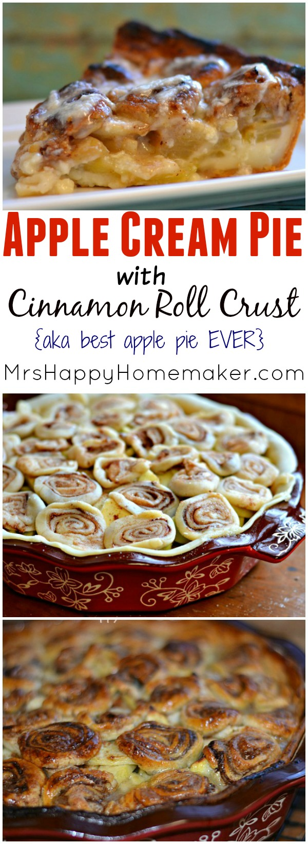 Apple Cream Pie with Cinnamon Roll Crust aka the BEST apple pie you've EVER had!