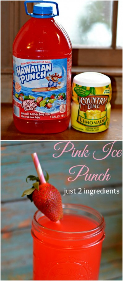 Pink Ice Punch, just 2 ingredients & it's so yummy! | MrsHappyHomemaker.com @thathousewife