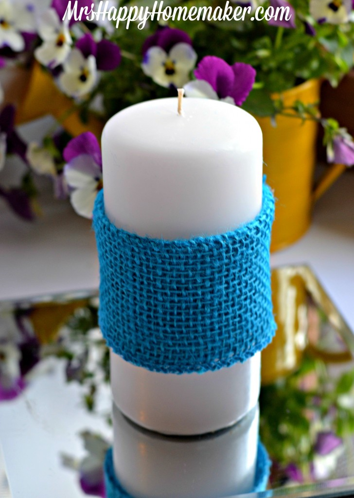 Burlap Wrapped Candles for Spring