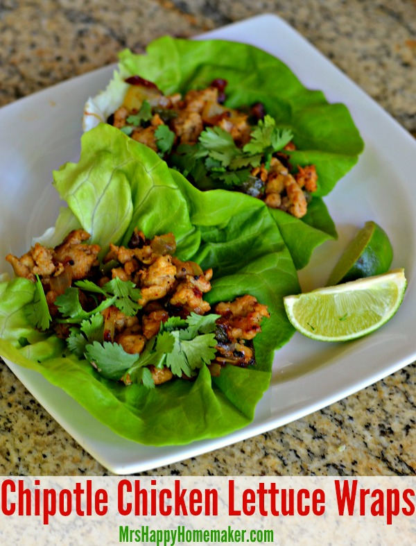 Chipotle Chicken Lettuce Wraps – cut back on the calories without cutting back on the flavor! These lettuce wraps are so easy to make, & so delicious! | MrsHappyHomemaker.com @thathousewife