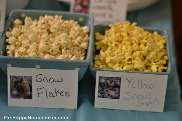 Frozen Birthday Party - Popcorn Snowflakes