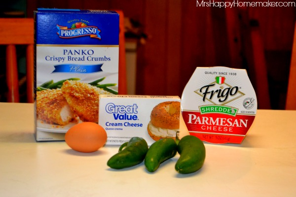 The 5 ingredients you need to make jalapeno popper bites - panko bread crumbs, cream cheese, egg, jalapeno, and parmesan.