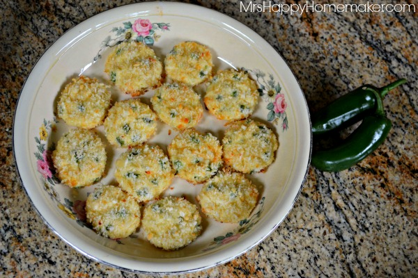 Jalapeno Popper Bites in a round flowery casserole dish