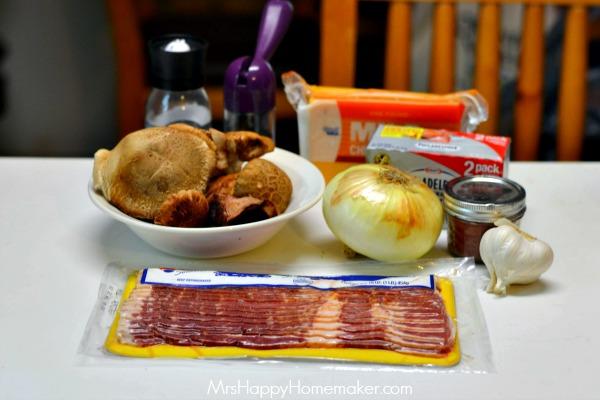 Cheddar Bacon Stuffed Mushroom Dip | MrsHappyHomemaker.com