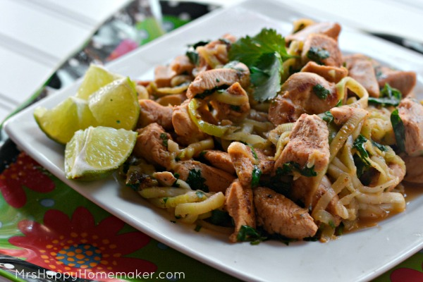 Cilantro Garlic Lime Chicken with Zucchini Noodles