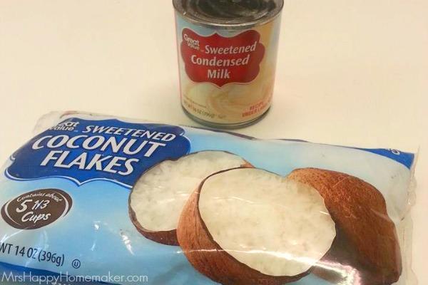 Easy 2 Ingredient Coconut Bars   MrsHappyHomemaker.com