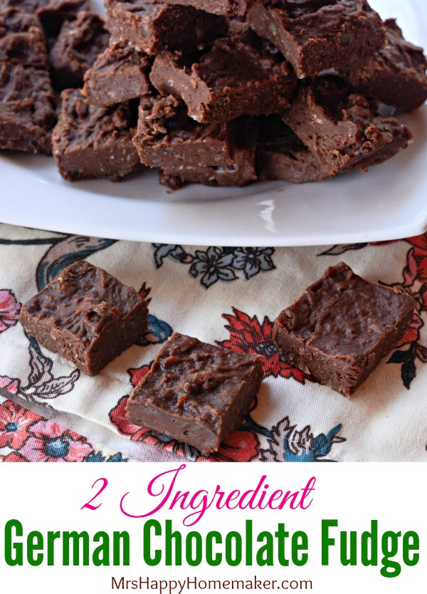 2 ingredient German chocolate fudge | MrsHappyHomemaker.com