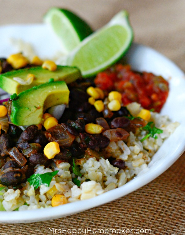 Here's what you need for making the black bean burrito bowls: