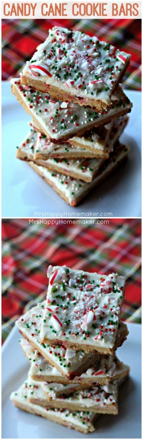 Candy Cane Cookie Bars - a handful of ingredients mixed together & the dough spread onto a cookie sheet, then sliced into bars. So easy yet so delicious! | MrsHappyHomemaker.com @thathousewife