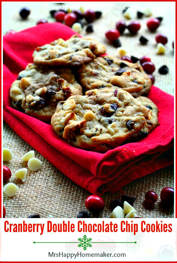Cranberry Double Chocolate Chip Cookies | MrsHappyHomemaker.com