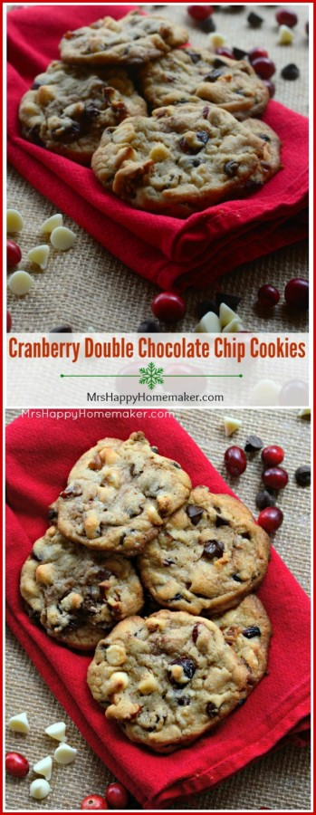 Cranberry Double Chocolate Chip Cookies – simple, festive, & absolutely delicious… not to mention the perfect Christmas cookie. Good luck eating just one!