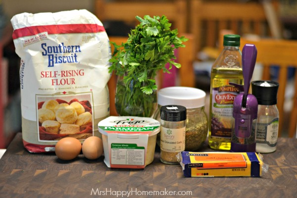 The ingredients for Cheesy Herb Buttermilk Bread