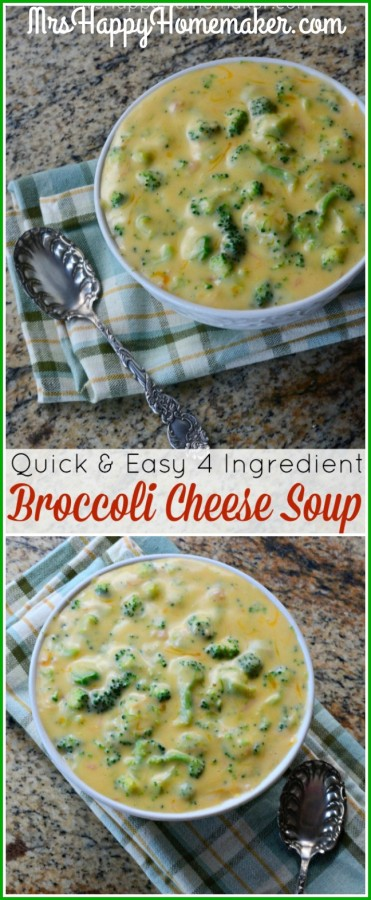 Looking for a delicious dinner to literally whip up in a matter of minutes? This Quick & Easy 4 Ingredient Broccoli Cheese Soup is right up your alley!   MrsHappyHomemaker.com @thathousewife