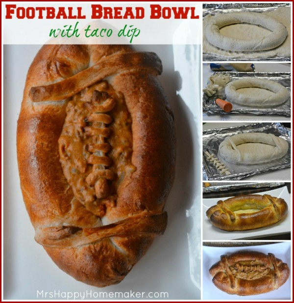 This Football Bread Bowl with Taco Dip looks just like a football - and it's so yummy! The football bread bowl itself is compiled of nothing but 3 tubes of french bread dough. You can fill it with any dip you like, but I prefer a simple homemade taco dip because not only is it delicious as all get out - but it's the perfect color to complete your 'football'! It is destined to be the star recipe of your Super Bowl or football party! | MrsHappyHomemaker.com @thathousewife