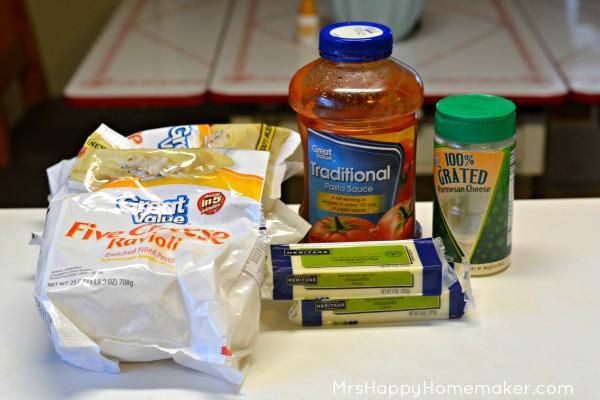 Easy Baked Ravioli ingredients on the countertop
