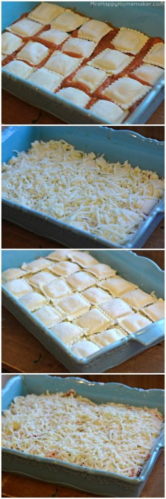 Easy Baked Ravioli collage of preparation
