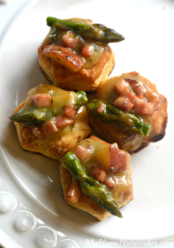 creamy ham, potato & asparagus in pastry
