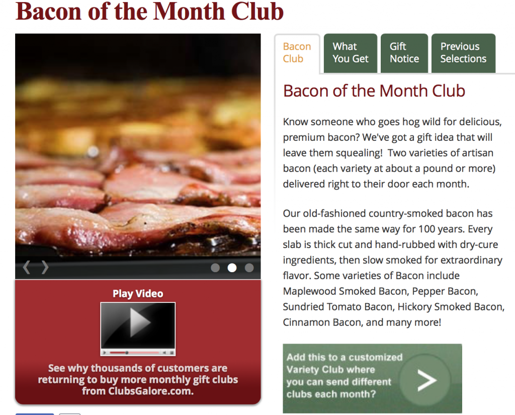 ClubsGalore Bacon Club