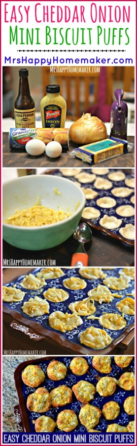 These Cheddar Onion Mini Biscuit Puffs are the first thing I learned to cook as a teen, & I've been making them ever since! They're very easy & oh so yummy! | MrsHappyHomemaker.com