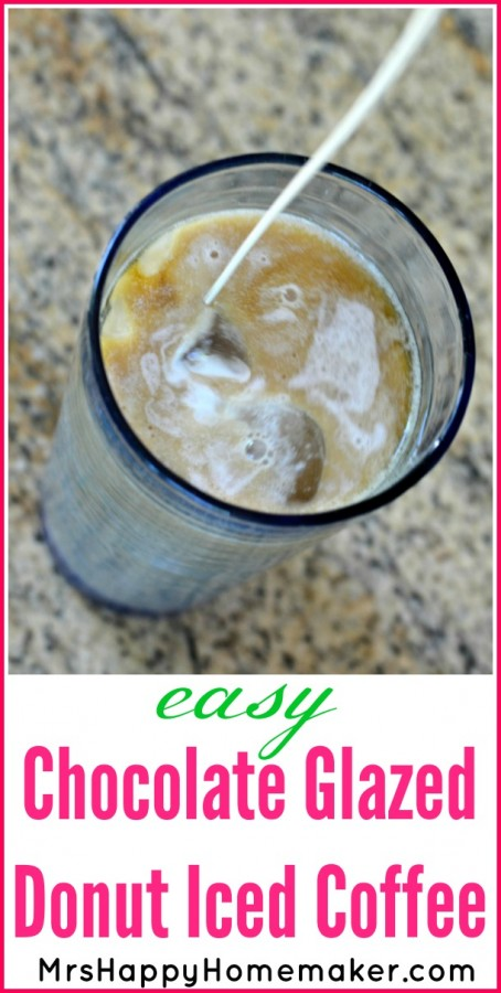 Easy Chocolate Glazed Donut Iced Coffee