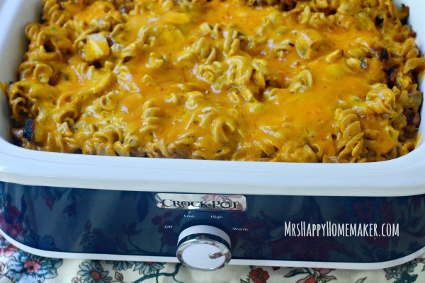 My Crockpot Southwest Chicken Pasta is a staple in my home & family favorite. It's simple & so delicious! Alternatively, you can cook it in the oven too. You can also switch out the pasta for rice, and it's yummy either way! | MrsHappyHomemaker.com