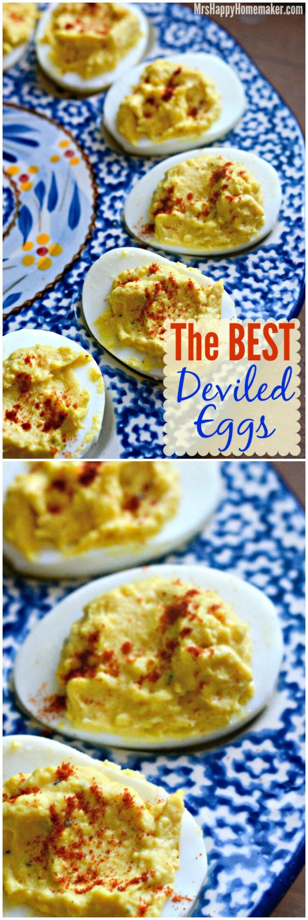 These are the BEST EVER DEVILED EGGS - my family won't eat any other deviled egg other than these. They really are amazing. | MrsHappyHomemaker.com @MrsHappyHomemaker